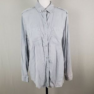 Holding Horses Gray Blue Button Up Long Sleeve Top